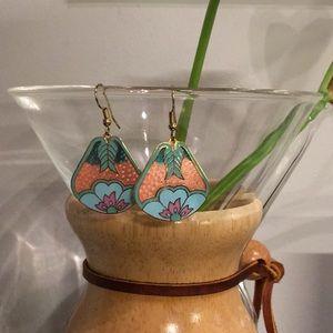 Vintage 70s 80s floral botanical earrings